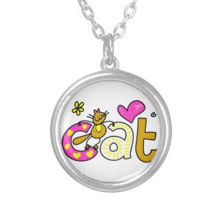 ファンシーな猫-単語のプリント シルバープレートネックレス