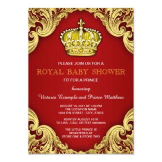 ファンシーな王子ベビーシャワーの赤および金ゴールド カード