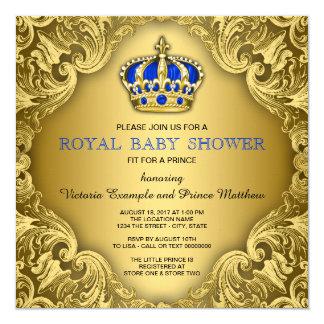 ファンシーな王子ベビーシャワーの青および金ゴールド カード