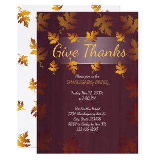 ファンシーな紅葉|の感謝祭の夕食の招待状 カード