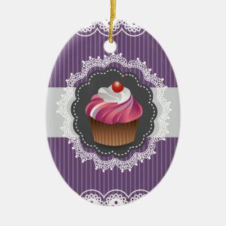 ファンシーな紫色のカップケーキ セラミックオーナメント