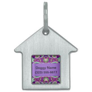 ファンシーな紫色のデザイン ペットネームタグ