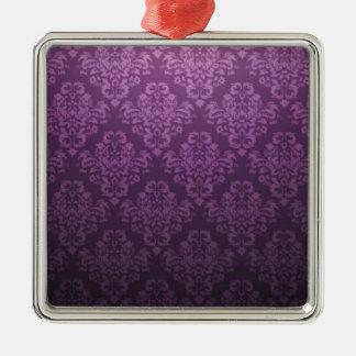 ファンシーな紫色のビクトリアンなダマスク織パターン シルバーカラー正方形オーナメント