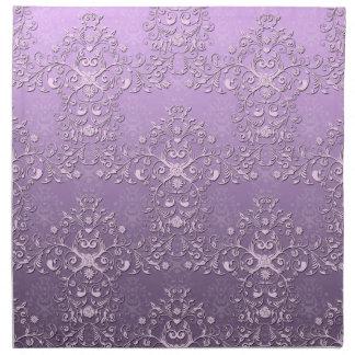ファンシーな花のラベンダーの紫色のダマスク織パターン ナプキンクロス