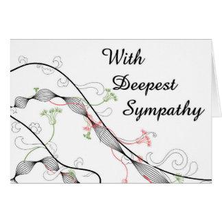 ファンシーな花の大きいフォントの悔やみや弔慰カード カード