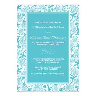 ファンシーな花の水の結婚式招待状 カード