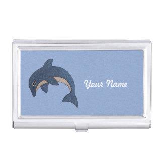 ファンシーな輝きは青く白い跳躍のイルカを好みます 名刺入れ