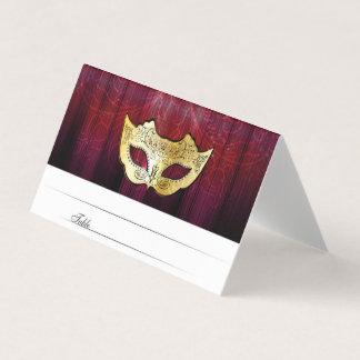 ファンシーな金ゴールドの仮面舞踏会の護衛カード プレイスカード