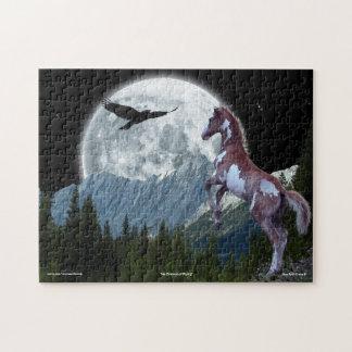 ファンタジーのまだら馬馬及び山の月の芸術のパズル ジグソーパズル