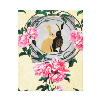 ファンタジーのジャックウサギのノウサギのバラのロマンチックなコラージュ キャンバスプリント
