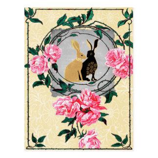 ファンタジーのジャックウサギのノウサギのバラのロマンチックなコラージュ ポストカード