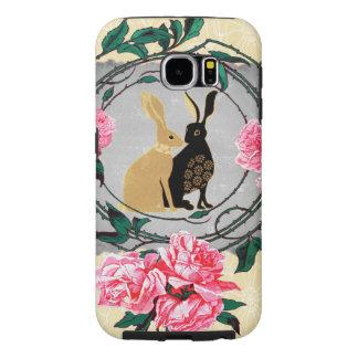 ファンタジーのジャックウサギのノウサギのバラのロマンチックなコラージュ SAMSUNG GALAXY S6 ケース