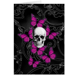 ファンタジーのスカルおよびショッキングピンクの蝶 ノートカード