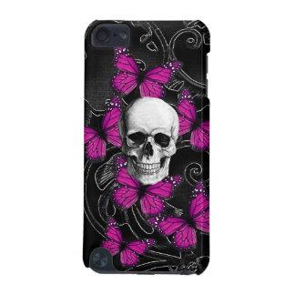 ファンタジーのスカルおよびショッキングピンクの蝶 iPod TOUCH 5G ケース