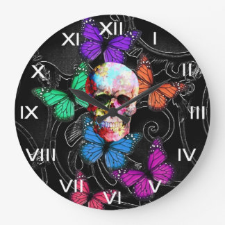 ファンタジーのスカルおよび着色された蝶 ラージ壁時計