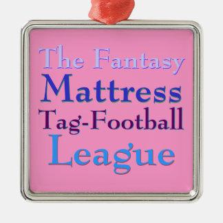 ファンタジーのマットレスのラベルフットボールリーグ シルバーカラー正方形オーナメント