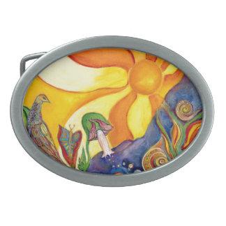 ファンタジーの不思議の国の妖精の日光の夢アリス 卵形バックル