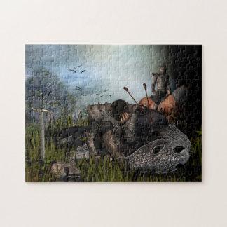 ファンタジーの戦士および戦争馬 ジグソーパズル