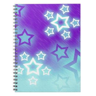 ファンタジーの星のやしシルエットの空の背景 ノートブック