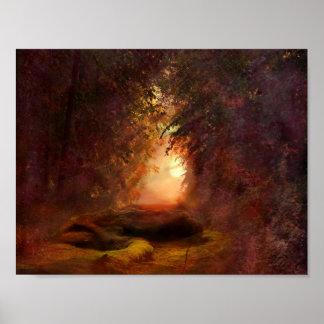 ファンタジーの森林日没 ポスター