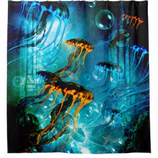 ファンタジーの水中世界の素晴らしいくらげ シャワーカーテン