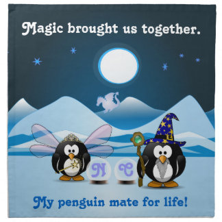 ファンタジーの氷河ペンギンの魔法使いの妖精のクリスタル・ボール ナプキンクロス