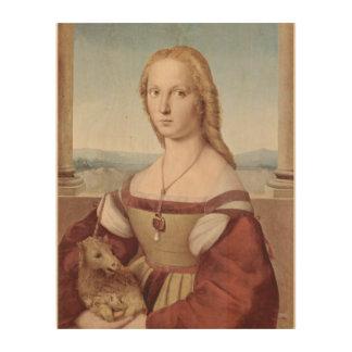 ファンタジーの芸術の物語を絵を描くユニコーンの女の子のヴィンテージ ウッドウォールアート
