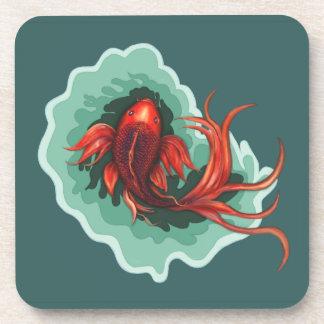 ファンタジーの赤くおよび黒いコイの魚 コースター