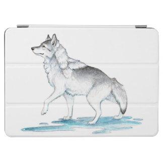 ファンタジーの鋼鉄灰色の氷の作成のオオカミ iPad AIR カバー