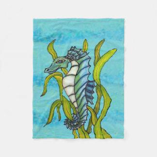 ファンタジーの青い海のドラゴンのタツノオトシゴの海藻 フリースブランケット