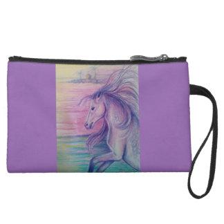 ファンタジーの馬の芸術のプリント スエードクラッチ