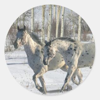ファンタジーの馬: 冬の不思議の国 ラウンドシール
