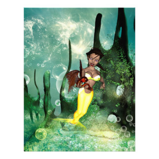ファンタジーの魚を持つかわいい人魚 レターヘッド