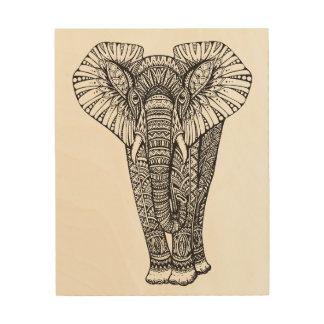 ファンタジーパターン(の模様が)あるな象の落書き5 ウッドウォールアート