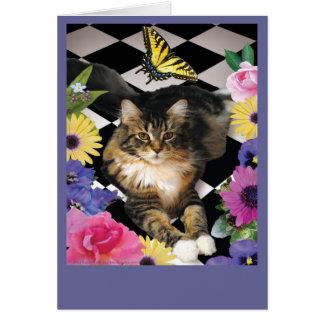 ファンタジー猫の庭の挨拶またはメッセージカード カード