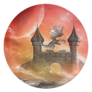 ファンタジー、城のドラゴン プレート