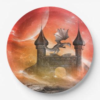 ファンタジー、城のドラゴン ペーパープレート