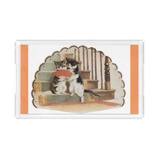 """ファン""""小さい虚栄心の皿""""を持つ猫 アクリルトレー"""