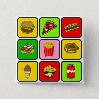 ファースト・フードの麻薬常習者ボタン 5.1CM 正方形バッジ