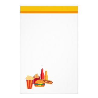 ファースト・フードの黄色およびオレンジ 便箋