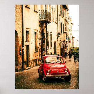 フィアット赤い500ポスター、ヴィンテージのcinquecento、イタリア ポスター