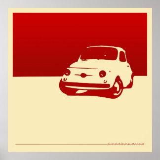 フィアット500 1959年-クリーム色ポスターの赤 ポスター