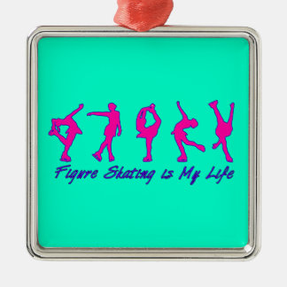 フィギュアスケートは私の生命ピンク及びティール(緑がかった色)のオーナメントです メタルオーナメント