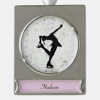 フィギュアスケート選手のオーナメント-名前入りな銀 シルバープレートバナーオーナメント
