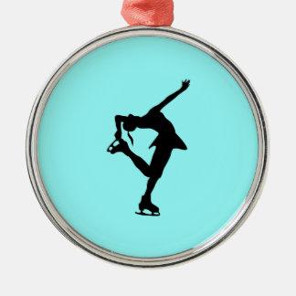 フィギュアスケート選手のオーナメント-淡青色 メタルオーナメント