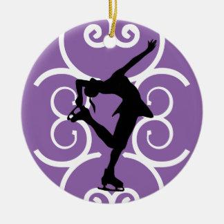 フィギュアスケート選手のオーナメント-紫色-それを個人化して下さい セラミックオーナメント