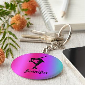 フィギュアスケート選手の名前のキーホルダー(ピンク、紫色、青) キーホルダー