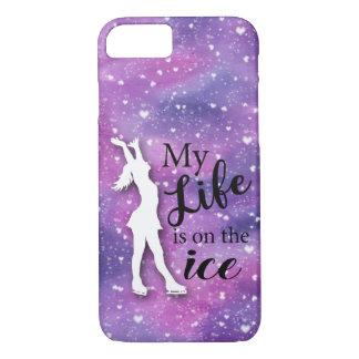 フィギュアスケート選手のIphoneの例のピンクの水彩画 iPhone 8/7ケース