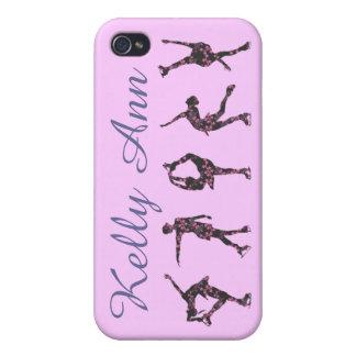 フィギュアスケート選手は場合に、ピンク電話をかけます及び灰色、個人化して下さい iPhone 4 CASE