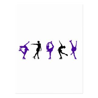 フィギュアスケート選手-紫色及び黒 ポストカード